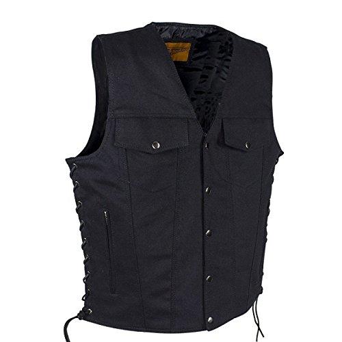 Men's Black Denim Motorcycle Club Vest Size 2XL XX-Large 52-54