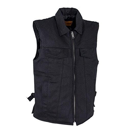 Men's Black Denim Motorcycle Club Vests with Gun Pockets Size 2XL XX-Large 52-54