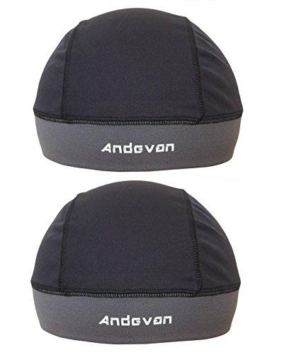 Andevan Helmet Liner Coolmax Fabric Skull Cap Style Pack of 2 Pcs Black