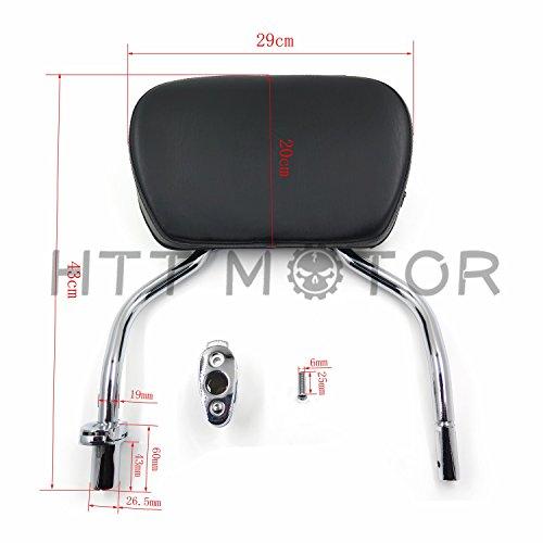 HTTMT Chrome Detachable SissyBar Pad Backrest For Harley FLRT Freewheeler 2015-2017