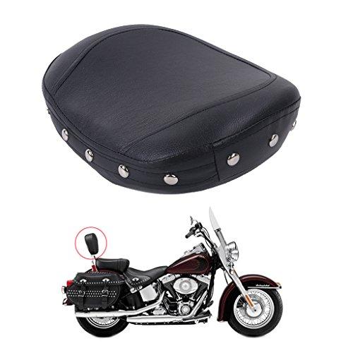 Jade Onlines Black Backrest Studded Sissy Bar Cushion Semicircle Pad For Harley Honda Yamaha Suzuki
