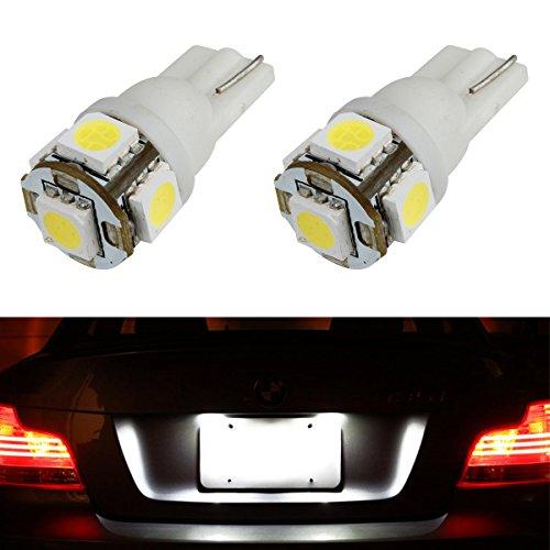 Partsam 2x 168 194 T10 5SMD LED Bulbs Car License Plate Lights Lamp White 12V
