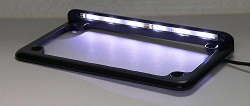 Complete Motorcycle License Plate Frame White LED 6 Black
