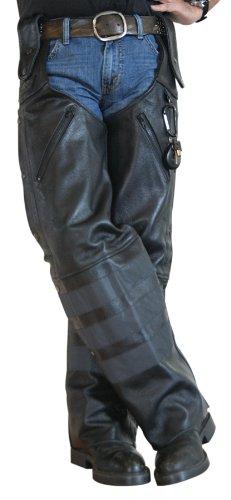 Missing Link Black Ops Leather Hook Chaps (black, Large)