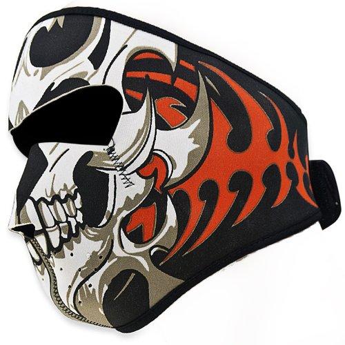 Astra Depot 2 In 1 Reversible Warm Black Tribal Classic Skull Neoprene Full Face Mask Facemask Headwear Outdoor