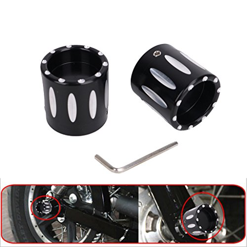 Jade For Harley Glide Softail Dyna Sportster Black Deep Cut Front Axle Cap Nut Cover