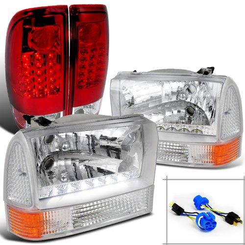Ford F250 Super Duty Chrome SMD HeadlightsCorner LightsRed LED Tail Lamps