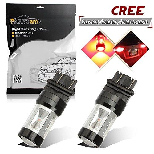 Partsam 2pcs 3157 6-Cree-XB-D Red 30W High Power Red LED Tail light Brake Light Centrl High Mount Stop Light