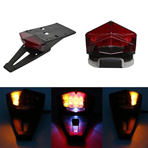 Rear Fender Mount Red LED Tail Light Brake Lamp Turn Signals License Plate Light For Custom Off-road Motorcycle Dirt Bike