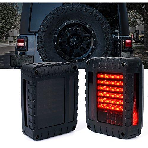Xprite G2 Series Smoke Lens Red LED Tail Light Assembly w Brake Turn Signal Back Up For Jeep Wrangler JK JKU 2007 - 2017