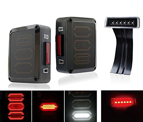 Xprite G3 Diamond Smoke Lens Red LED Tail Light w Turn Signal Back Up Clear 3rd LED Brake Light Replacement For Jeep Wrangler JK JKU 2007 - 2017