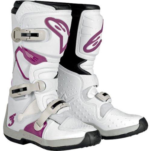 Alpinestars Stella Tech 3 Womens MotoX Motorcycle Boots - WhiteViolet  Size 6