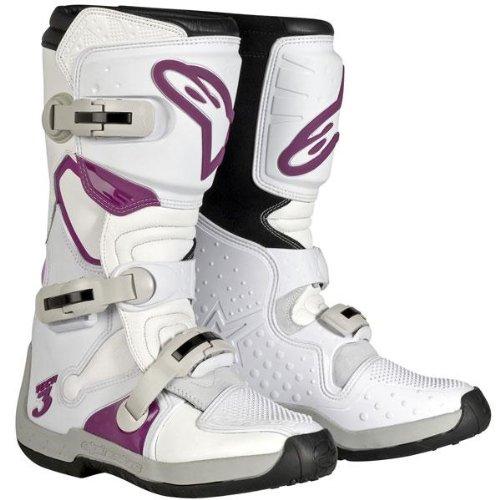 Alpinestars Stella Tech 3 Womens MotoX Motorcycle Boots - WhiteViolet  Size 7