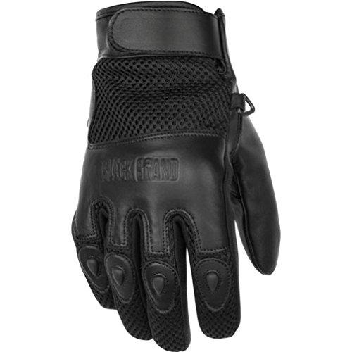 Black Brand Mens LeatherMesh Challenge Motorcycle Gloves Black Large