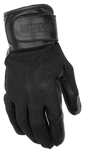 Black Brand Mens LeatherMesh High Flow Motorcycle Gloves Black X-Large
