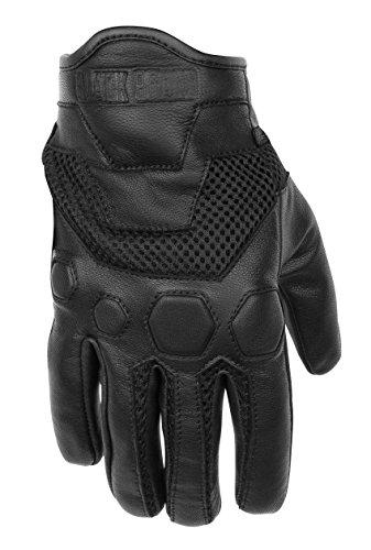 Black Brand Mens LeatherMesh Tech Rider Motorcycle Gloves Black Large