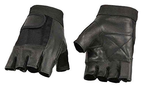 Milwaukee Leather Mens Leather Mesh Combo Fingerless Gloves Black SH217 L