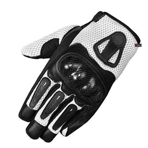 New Men Short Motorcycle Leather Mesh Gloves White Carbon Fiber L