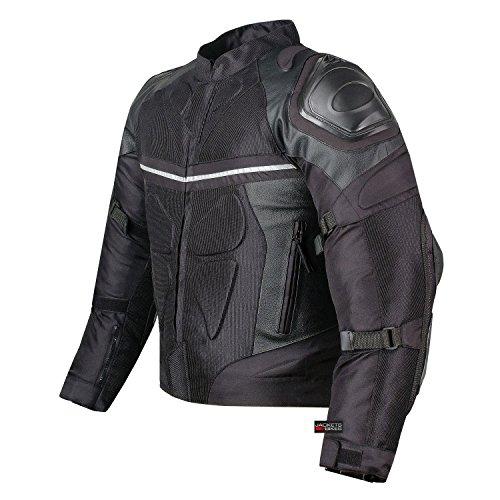 PRO LEATHER MESH MOTORCYCLE WATERPROOF JACKET BLACK WITH EXTERNAL ARMOR XXL