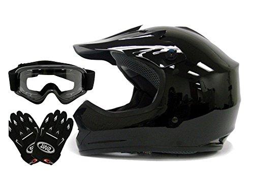 TMS Youth Kids Gloss Black Dirt Bike Atv Motocross Off-road Helmet Wgogglesgloves Large
