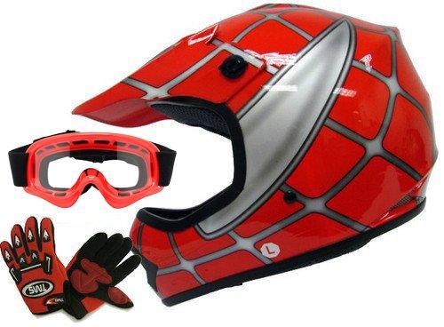 TMS Youth Kids Red Spider Net Dirt Bike Atv Motocross Helmet Wgogglesgloves Large