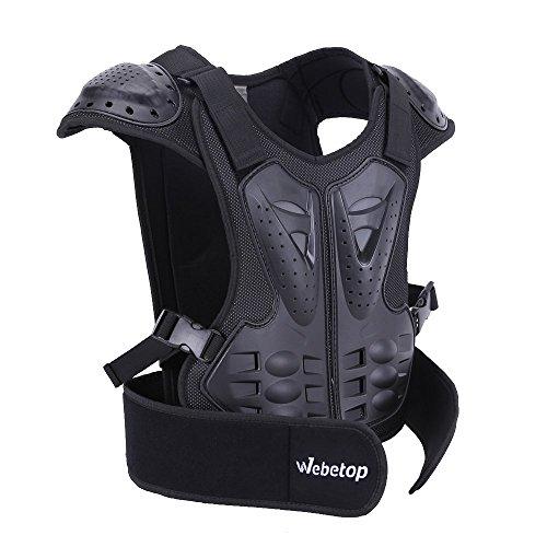 Webetop Kids Dirt Bike Body Chest Spine Protector Armor Vest Protective Gear for Dirtbike Bike Motocross Skiing Snowboarding BlackL for height 51-57