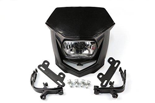 Motorcycle Pit Dirt Bike Motocross Enduro Supermoto Universal Headlights Head Light Headlamp Street Fighter for KTM Kawasaki Honda Yamaha Suzuki Black