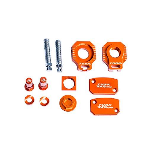 Tusk Billet Bling Kit Orange Axle Blocks Reservoir Cap oil plug and rim lock spacers – Fits KTM 300 XC-W E-Start 2008–2017