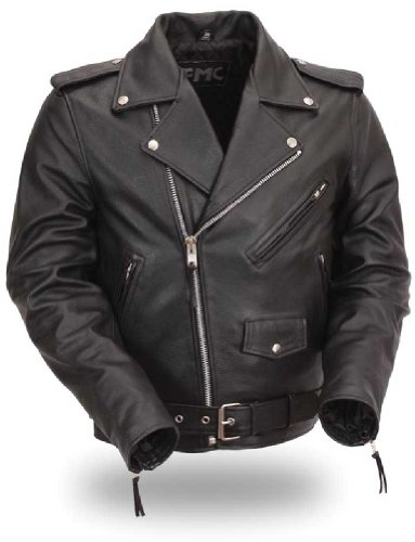 First Manufacturing Men's Classic Side Lace Motorcycle Jacket (black, Size 42)