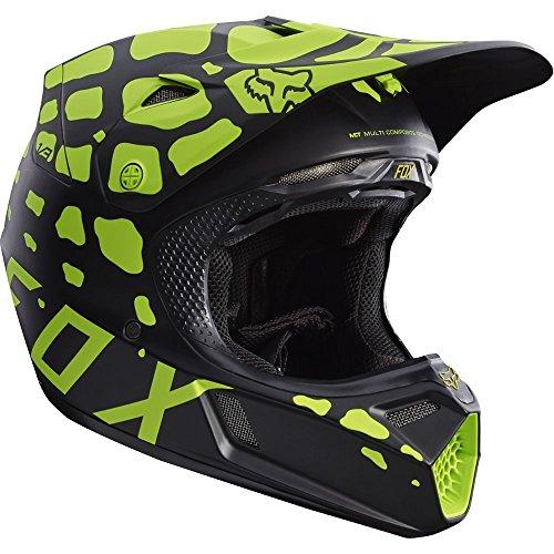 Fox Racing Grav Adult V3 Motocross Motorcycle Helmet - BlackYellow  Large