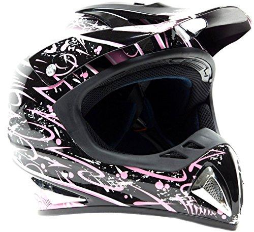 Typhoon Helmets Adult Off Road Dirt Bike ATV Motocross Helmet - DOT Rated - Pink Splatter  Large