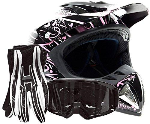 Adult Offroad Helmet Goggles Gloves Gear Combo DOT Motocross ATV Dirt Bike MX Black Pink Splatter  Large