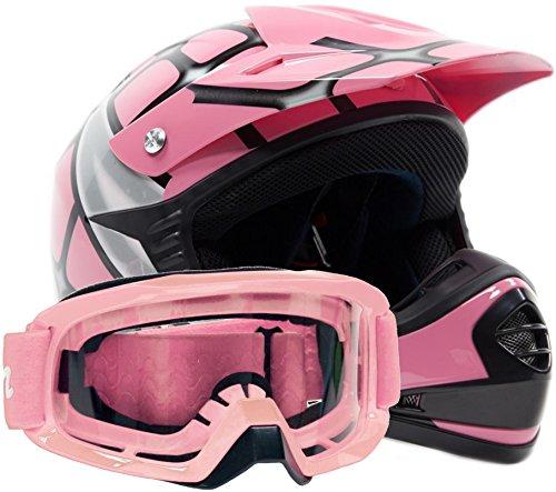 Youth Offroad Gear Combo Helmet Goggles DOT Motocross ATV Dirt Bike MX Motorcycle Spiderman Pink  M Medium