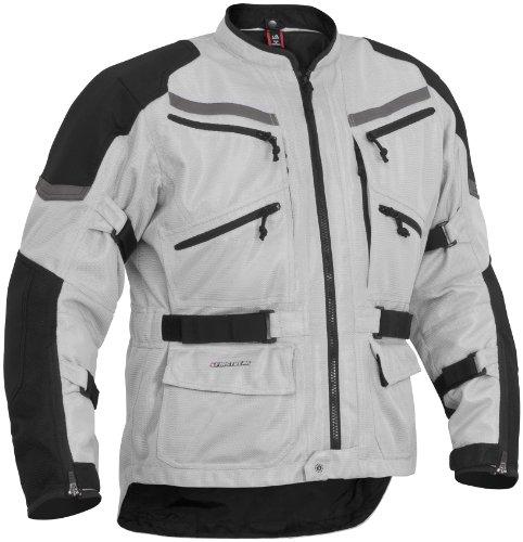 Firstgear Adventure Mesh Men's Motorcycle Jacket (silver/black, X-large)