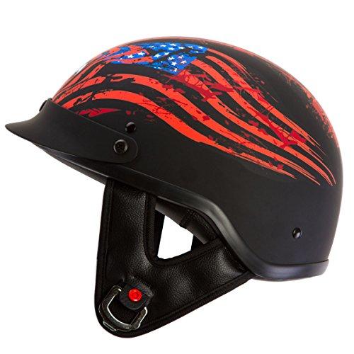 IV2 Liberty or Death Matte Black Chopper Cruiser Beanie Half Helmet Motorcycle Helmet DOT - XL