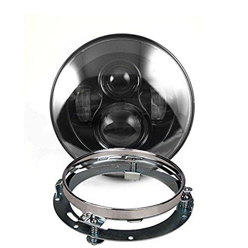 Eagle Lights 7 LED Projection Headlight w Chrome Mounting Ring Harley Davidson Touring Bikes Black