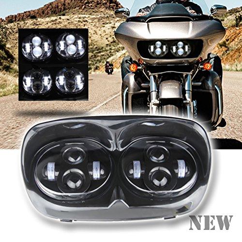 Sunpie 7 Black Motocycle Projector Day Maker Dual LED Headlight for 2004~2013 Harley Davidson Road Glide Black