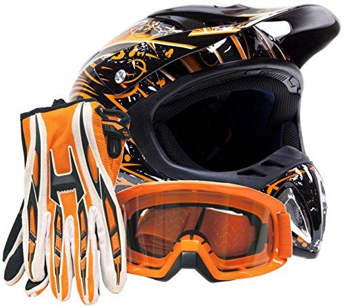 Adult Off Road Helmet Goggles & Gloves Gear Combo - Orange Splatter ( Large )