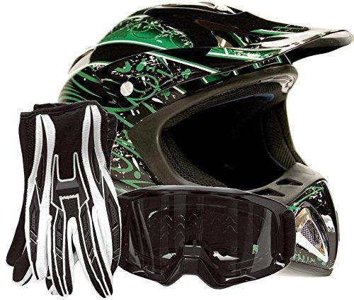 Adult Offroad Helmet Goggles Gloves Gear Combo Dot Motocross Atv Dirt Bike Mx Black Green Splatter ( Small )