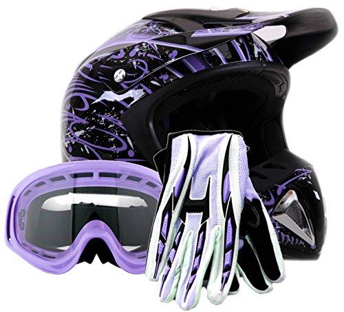 Adult Offroad Helmet Goggles Gloves Gear Combo Dot Motocross Atv Dirt Bike Mx Purple Splatter ( Small )