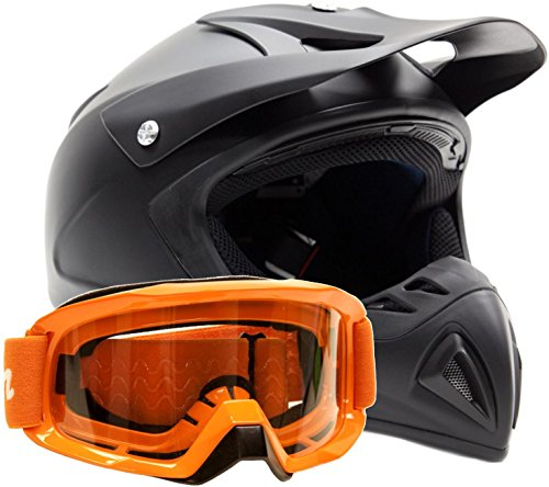 Adult Offroad Helmet & Goggles Gear Combo Dot Motocross Atv Dirt Bike Mx Orange Flat Matte Black ( Xxl )