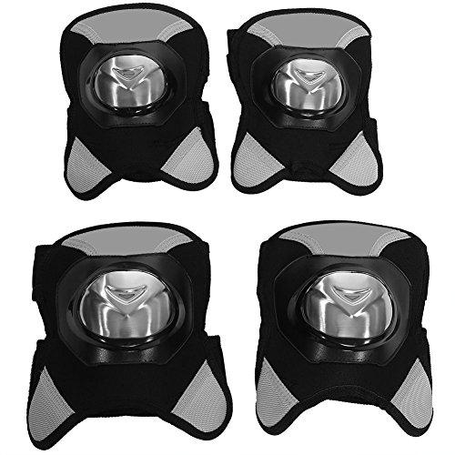 Qiilu 4Pcs Motorcycle Knee Pads Motocross Cycling Elbow and Wrist Shin Guard Protective Armors Set Black