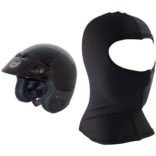 Core Tourer Open-face Helmet (gloss Black, Small) And Core Nylon Balaclava (black, One Size) Bundle