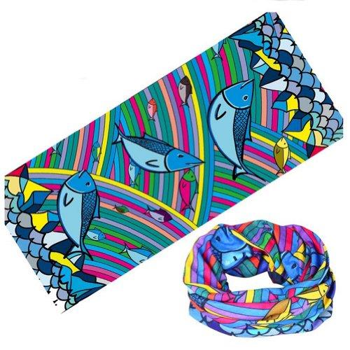 Rainbow Fish Bike Cycling Bandana Face Mask Arm Face Shield Guard Head Band