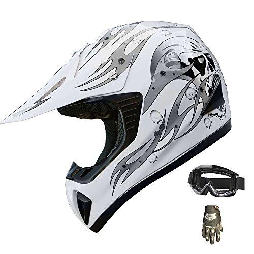ATV Motocross Helmet Dirt Bike Motorcycle A81 WhiteSilver glovesgoggles XL