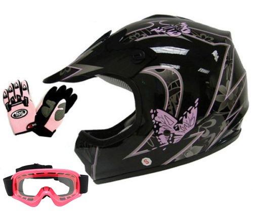 TMS Youth Kids Pink Butterfly Dirtbike Atv Motocross Helmet Mx Wgogglesgloves Medium