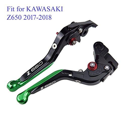 PRO-KODASKIN Folding Extendable Brake Clutch Levers for KAWASAKI Z650 2017-2018 Green