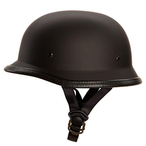 Low Profile Novelty German Half Chopper Helmet Skull Cap Matte Black M