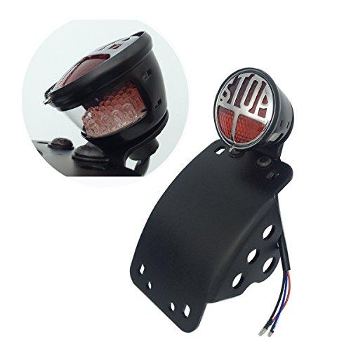 LED Side Mount Vertical Curved License Plate Bracket Brake Taillight for Harley Davidson Sporster Bobber Choppers