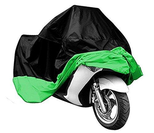 All Weather Waterproof Sun proof Motorcycle Motorbike Cover Outdoor Indoor Protective Dustproof Cover for Harley Davison Honda Yamaha Suzuki XXL BlackGreen